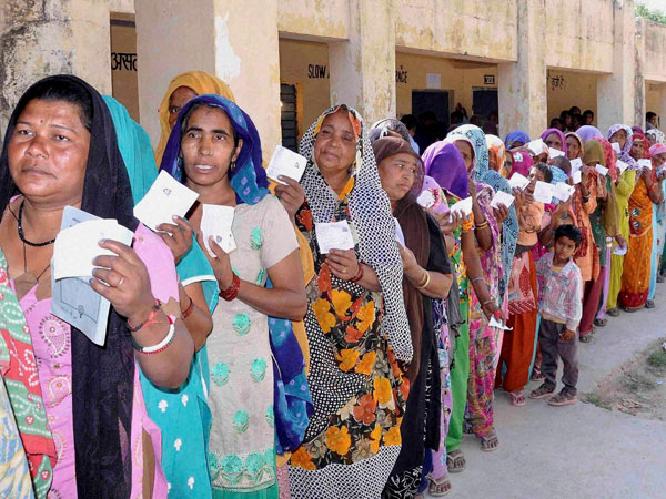 Lok Sabha elections at a polling booth in Jammu