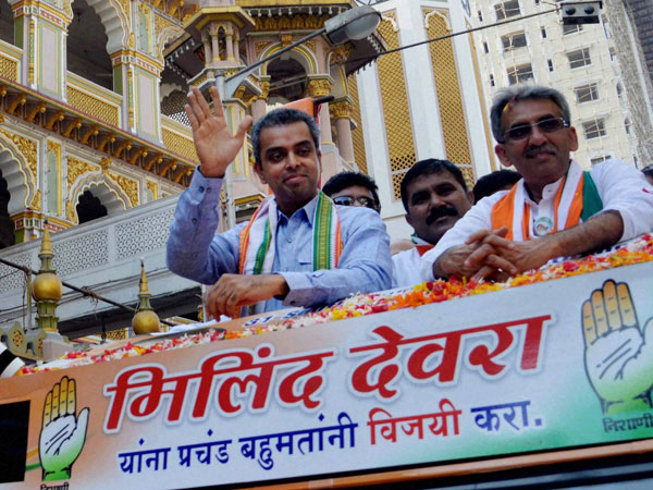 ilind Deora at an election campaign rally in Mumbai
