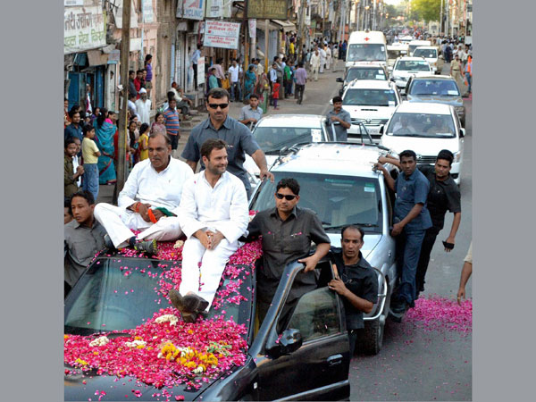 Rahul Gandhi during a roadshow in Gwalior