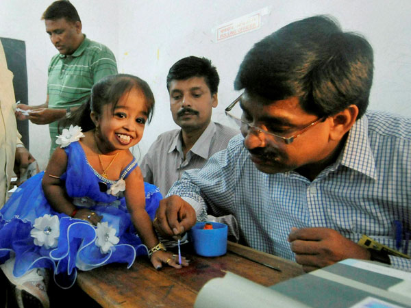 Jyoti Amge, 20, a first time voter