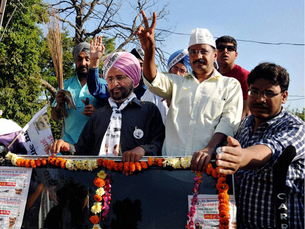 Arvind Kejriwal during an election roadshow