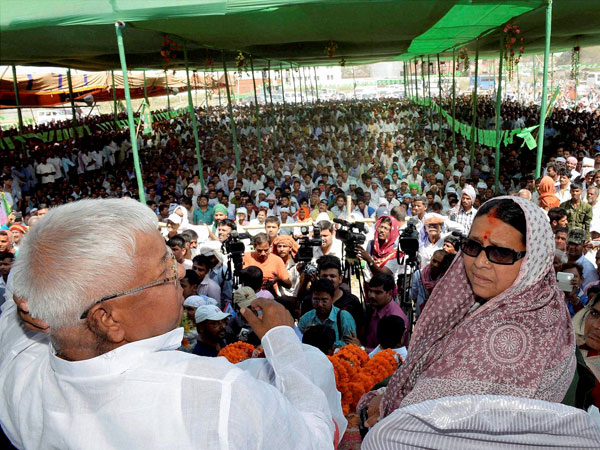 RJD chief Lalu Prasad along with his wife