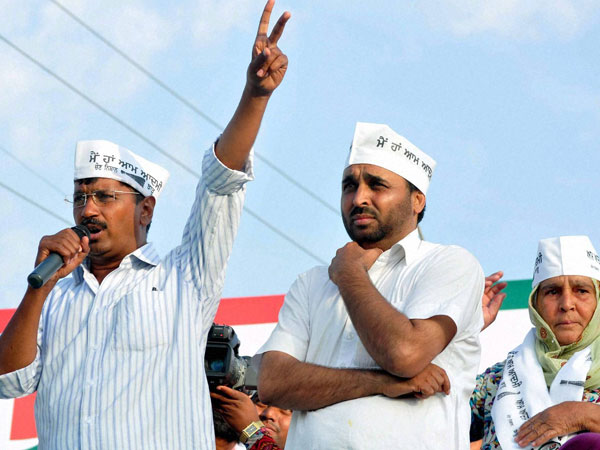 AAP Party Chief Arvind Kejriwal campaigns