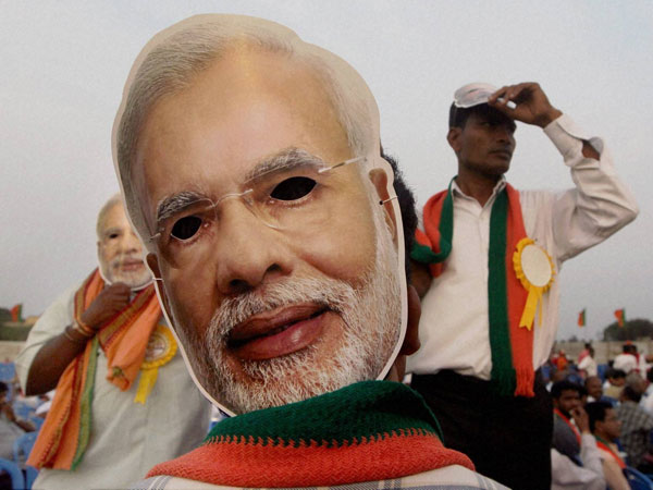 Narendra Modi's mask during his election rally