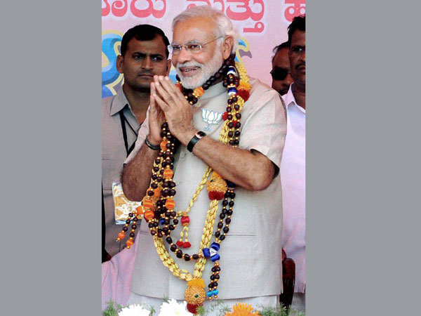 Narendra Modi at an election rally in Chikmagalur