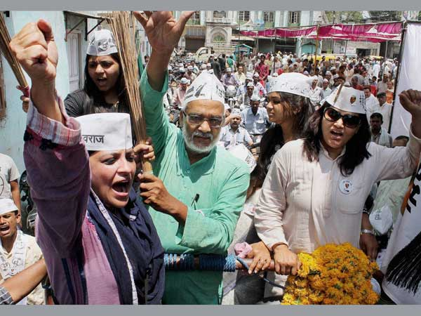 AAP leader Shazia Ilmi during a roadshow in Indore