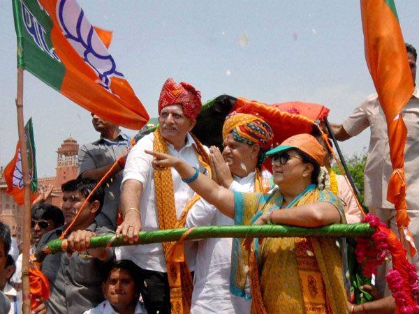 Vasundra Raje during an election campaign