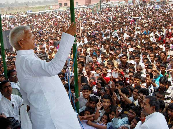 Lalu Prasad addressing an election campaign