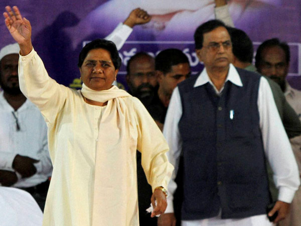 Mayawati waves during an election campaign