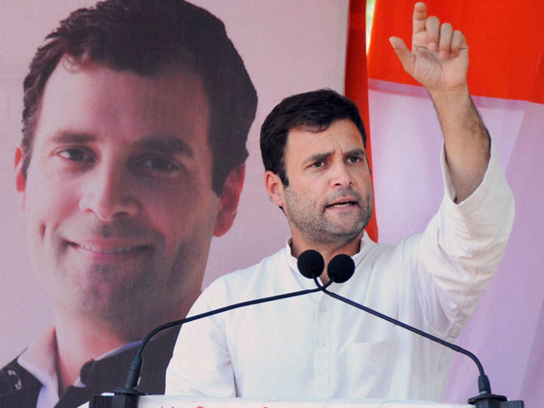 Rahul Gandhi addresses an election campaign rally in Pune
