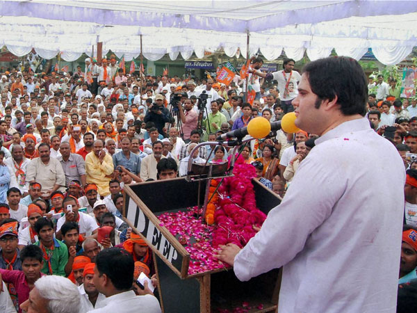 Varun Gandhi addresses an election meeting in Sultanpur