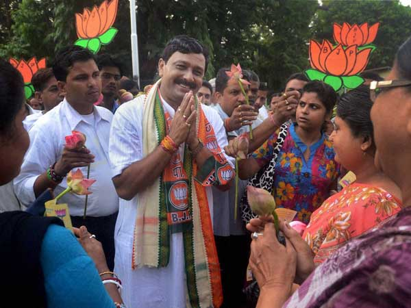 Rahul Sinha during his door to door election campign in Kolkata
