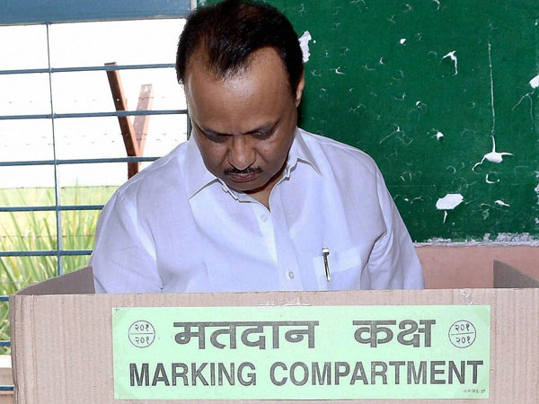 Ajit Anantrao Pawar, deputy chief minister of Maharashtrai, casts his vote