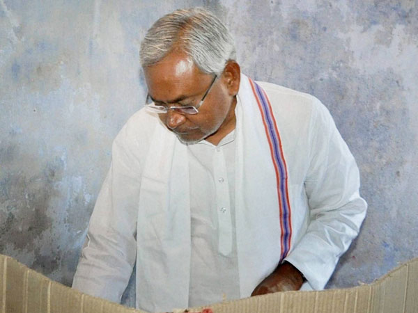 Bihar Chief Minister Nitish Kumar casts his vote