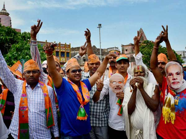 BJP supporters at an election campaign in Ayodhya