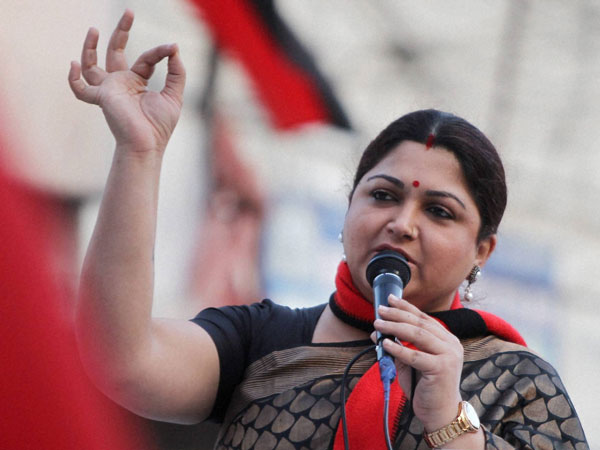 DMK leader Kushboo at an election campaign rally