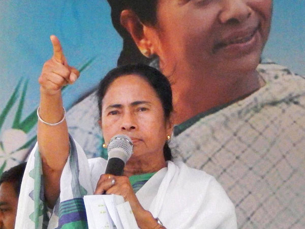Mamata Banerjee speaks during an election meeting