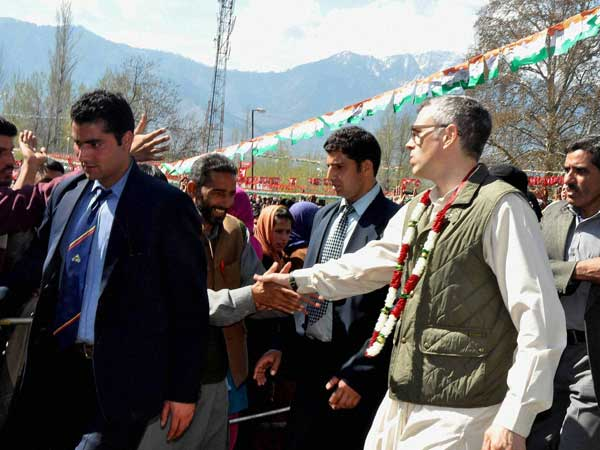 Omar Abdullah interacting with people during an election campaign