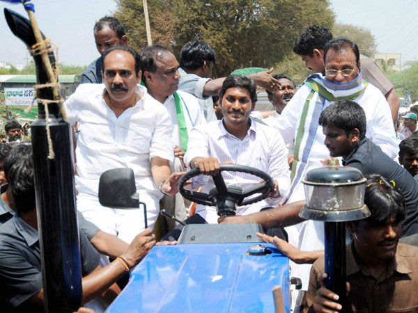 YS Jagan Mohan Reddy drives a tractor