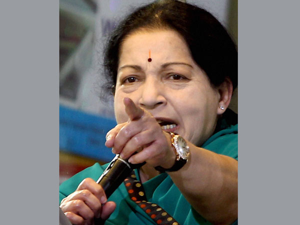 AIADMK Supremo J Jayalalithaa addresses an election campaign