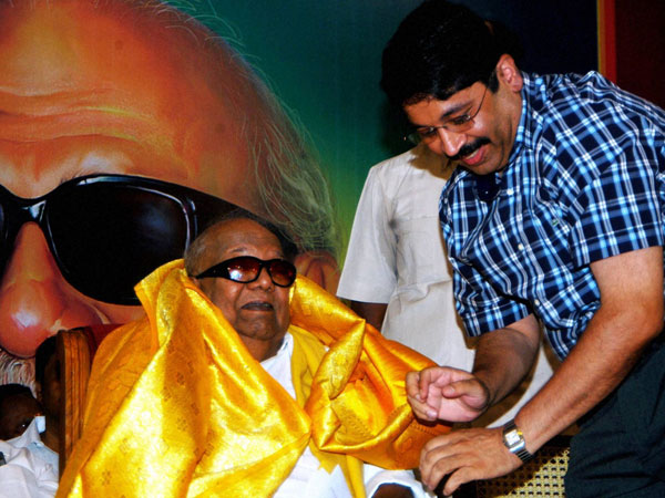 Karunanidhi is presented a shawl
