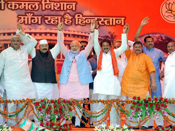 Narendra Modi at an election campaign rally
