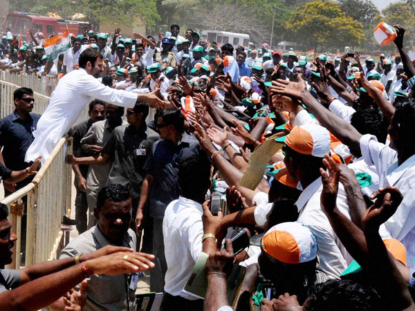 Rahul Gandhi meets supporters during an election campaign