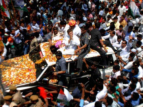 Rahul Gandhi during a road show