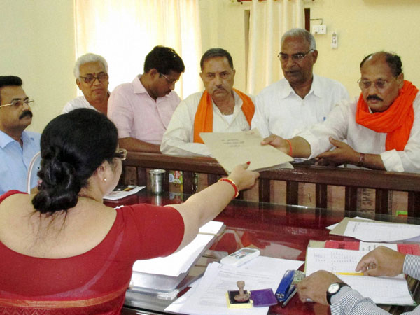 Ramakant Yadav filing his nomination papers