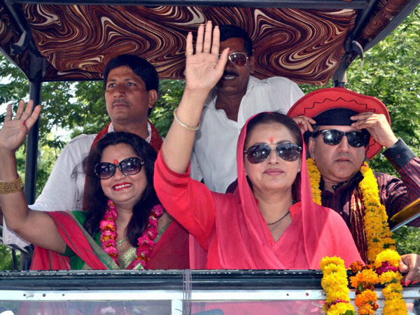 Jaya Prada at an election roadshow