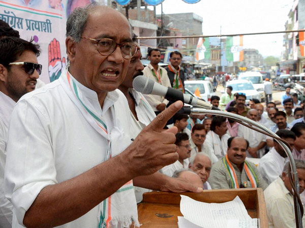 Digvijay Singh addressing an election meeting