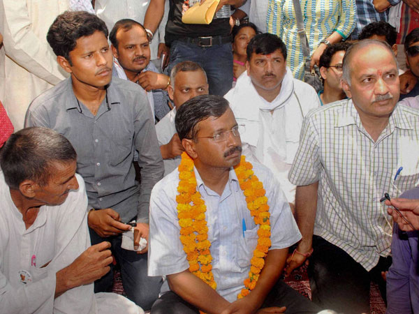 Arvind Kejriwal with party leaders during a protest