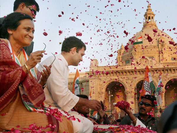 Rahul Gandhi during a road show in support
