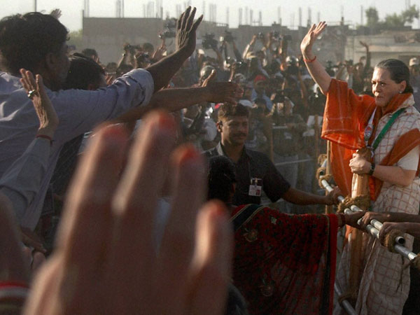 Sonia Gandhi meets supporters at an election rally