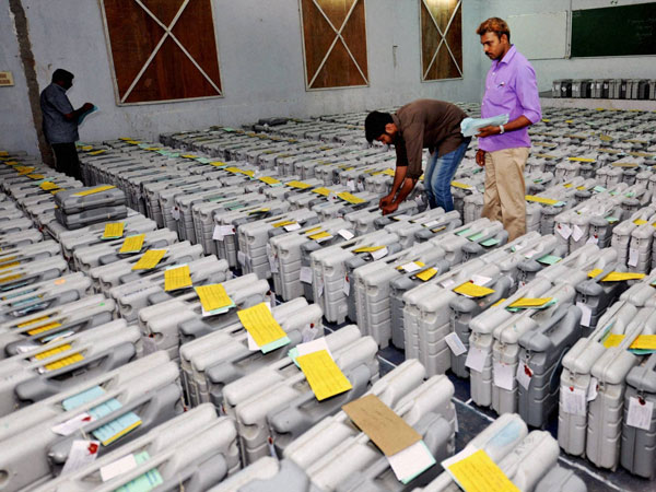 Electronic Voter Machines (EVM) being arranged at a strong room