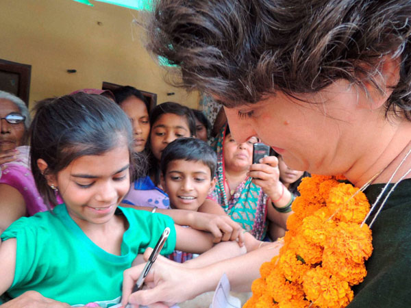Priyanka Vadra with students during an election campaign
