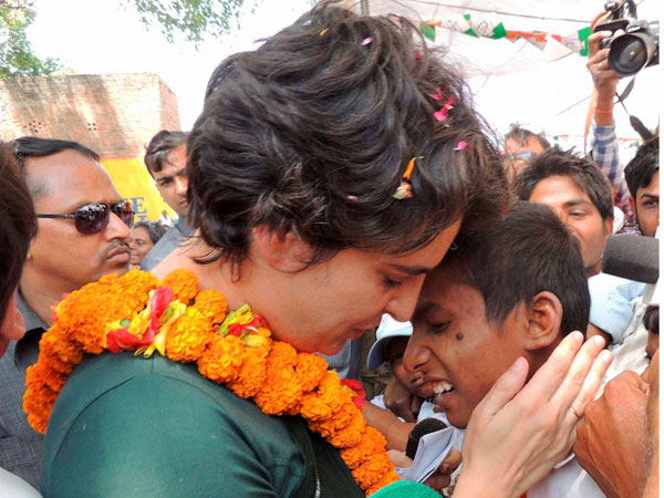 Priyanka Vadra interacts with students during an election campaign
