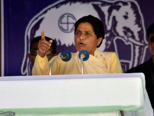 BSP supremo Mayawati addresses at an election campaign
