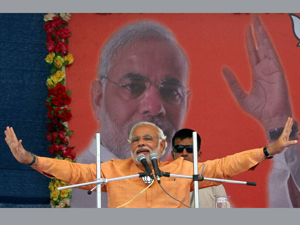 Narendra Modi addresses an election campaign rally