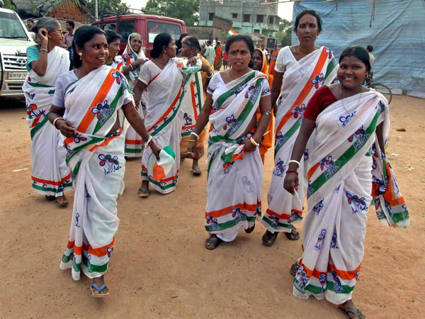 Women supporters of Trinamool Congress