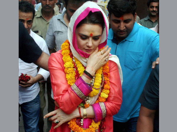 Preity Zinta comes out of the Baba Kal Bhirav temple in Varanasi