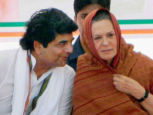 Sonia Gandhi with party leader RPN Singh during an election campaign