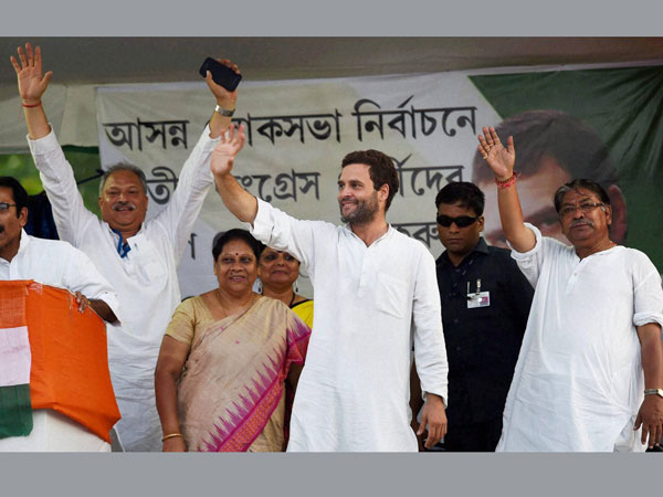 Rahul Gandhi addresses an election campaign rally