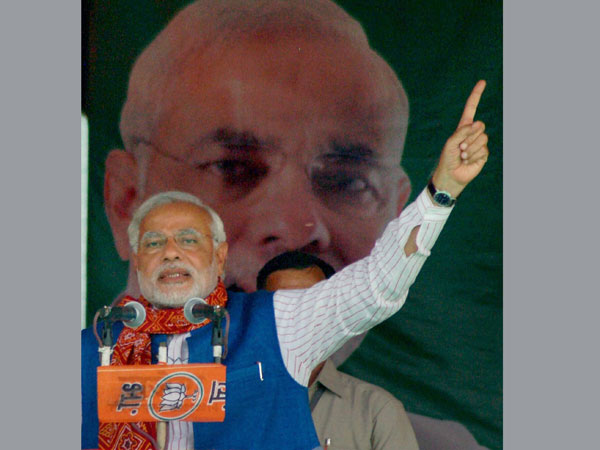 Narendra Modi addresses an election rally in Mirzapur