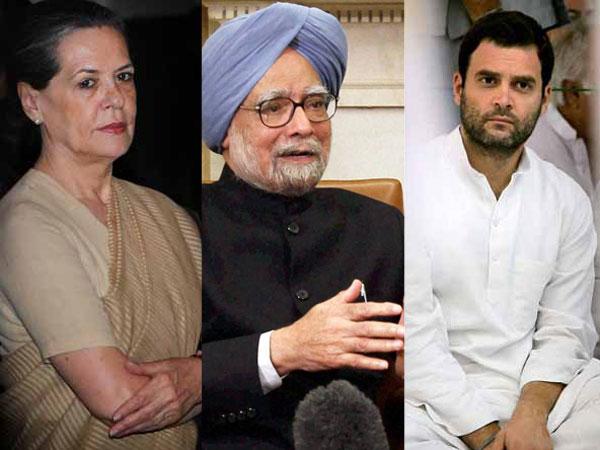 Sonia Gandhi, Manmohan Singh and Rahul Gandhi