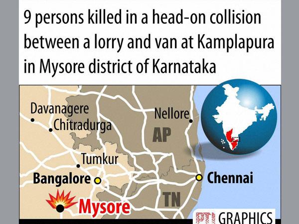 Tempo-truck collision in Mysore, 9 dead