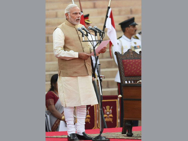 Narendra Modi taking oath as the 15th Prime Minister of India