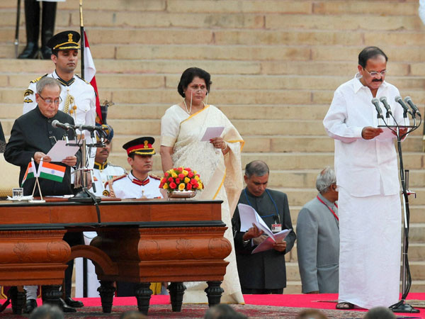 M Venkaiah Naidu as a Cabinet minister at a ceremony