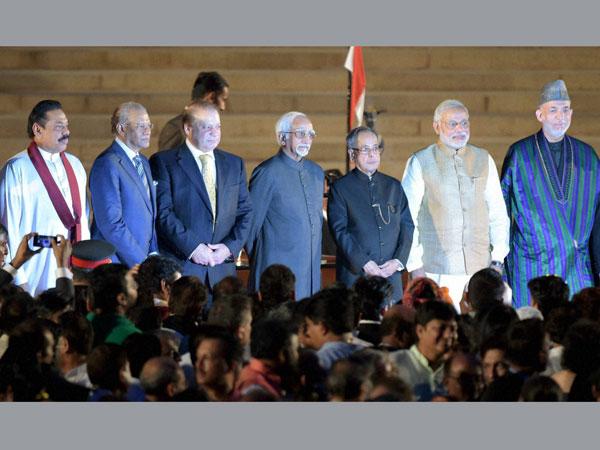 Prime Minister Narendra Modi with heads of SAARC countries