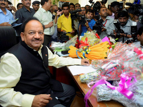 Harsh Vardhan taking charge of the Ministry of Health and Family Welfare